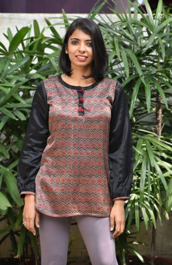 Brown modal silk ajrakh tunic-0