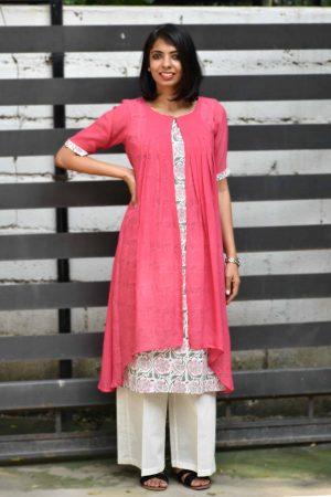 Pink chiffon layered kurta -0