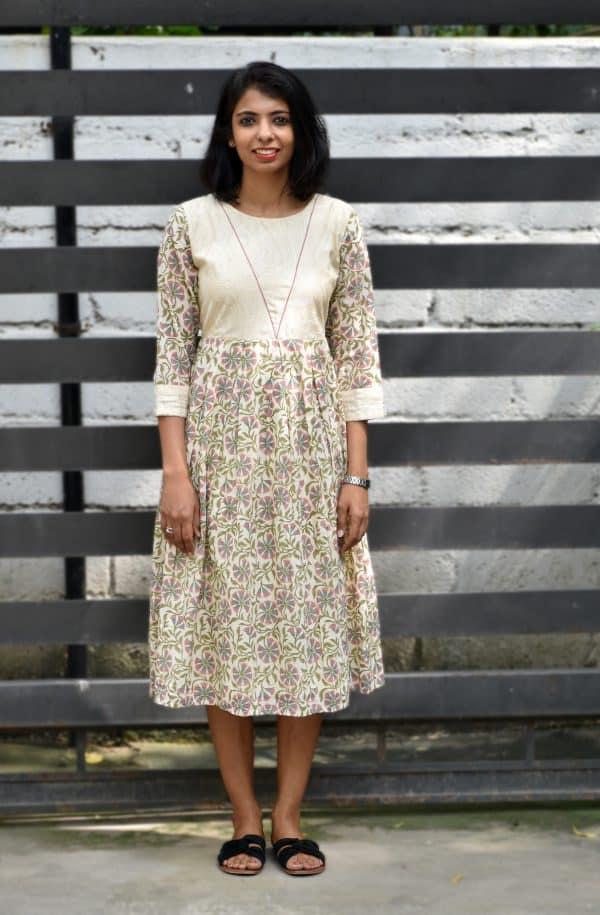 Cream mul block printed dress -0