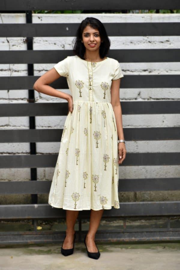 Cream tree print cotton dress-0