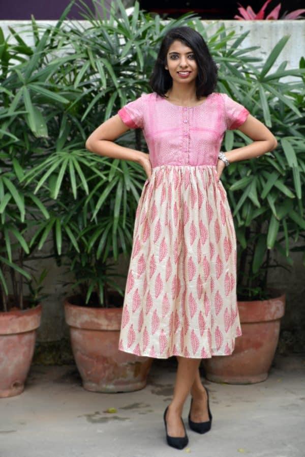 Pink beige tussar dress-0