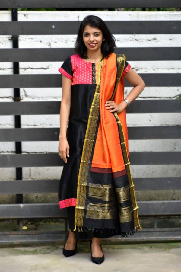 Black modal silk kurta and kanchi silk dupatta-0