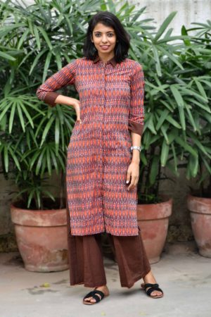 Orange brown ikat kurta-0