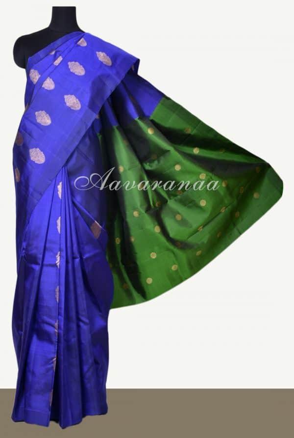 Royal blue dark green devi face kanchi silk saree-0