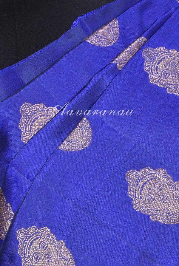 Royal blue dark green devi face kanchi silk saree-17562