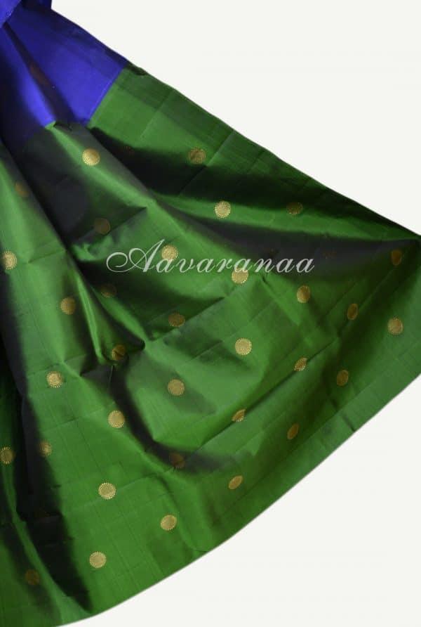 Royal blue dark green devi face kanchi silk saree-17560