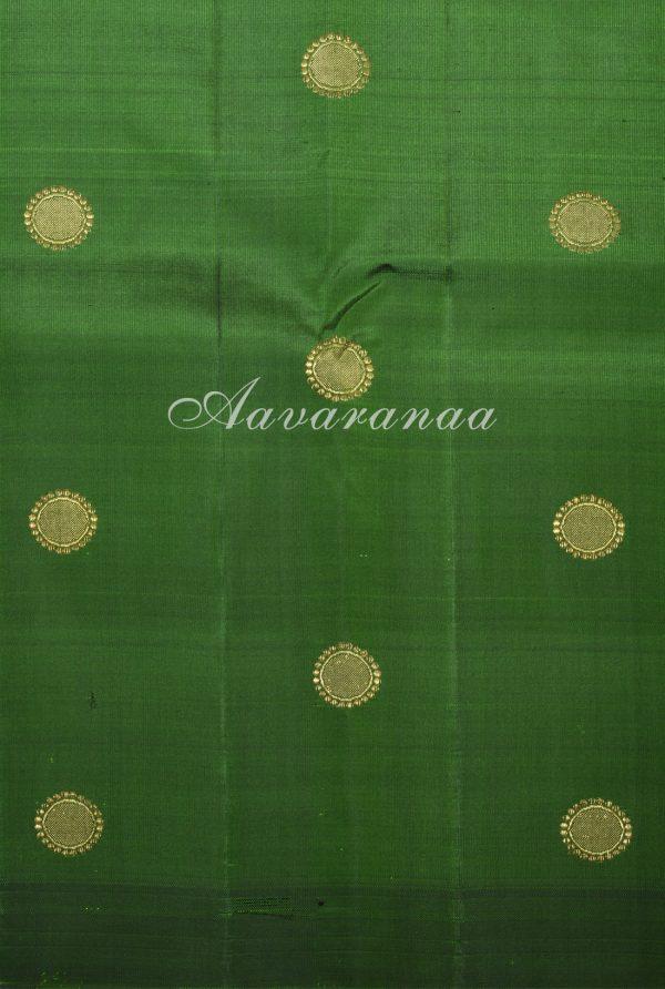 Royal blue dark green devi face kanchi silk saree-17561