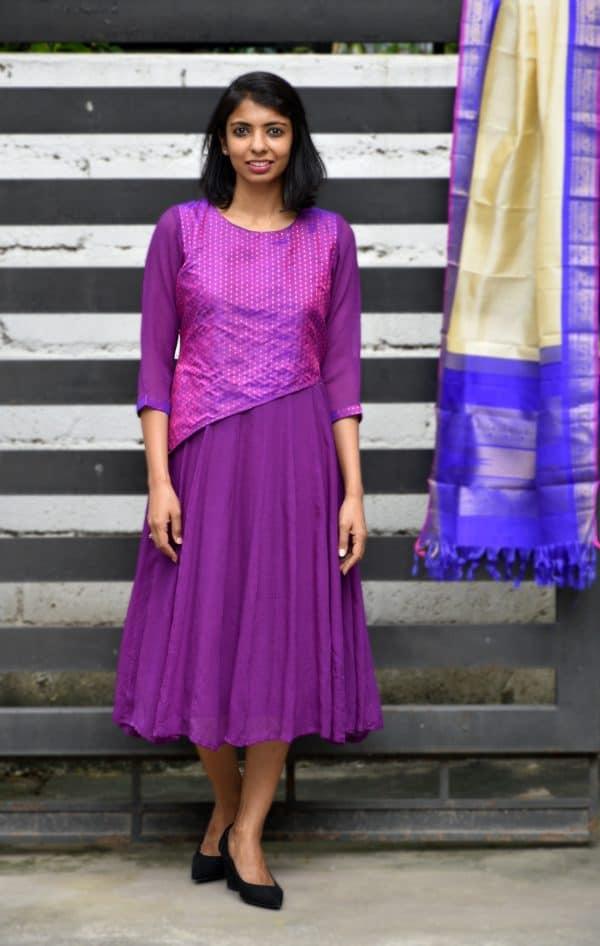 Violet chiffon dress-0