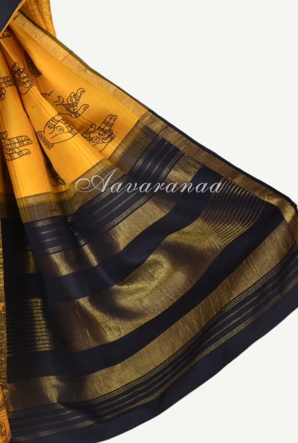 Yellow mudra kanchi kalamkari saree-17681