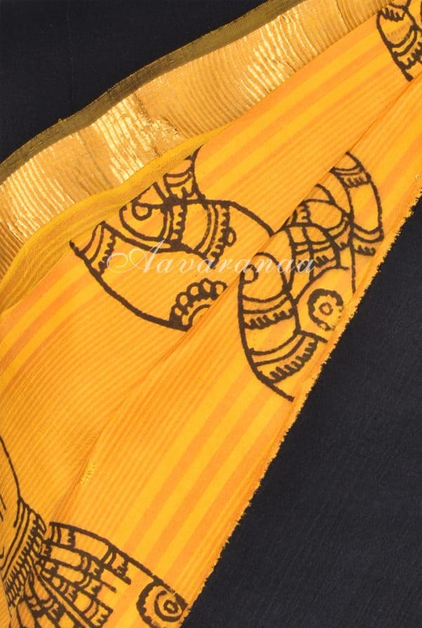 Yellow mudra kanchi kalamkari saree-17683