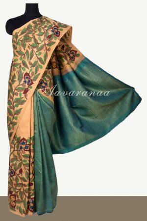 Beige teal kancheepuram saree with kalamkari-0
