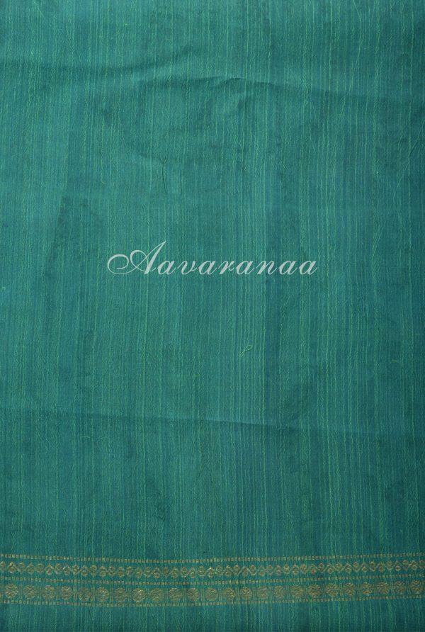 Beige teal kancheepuram saree with kalamkari-17536