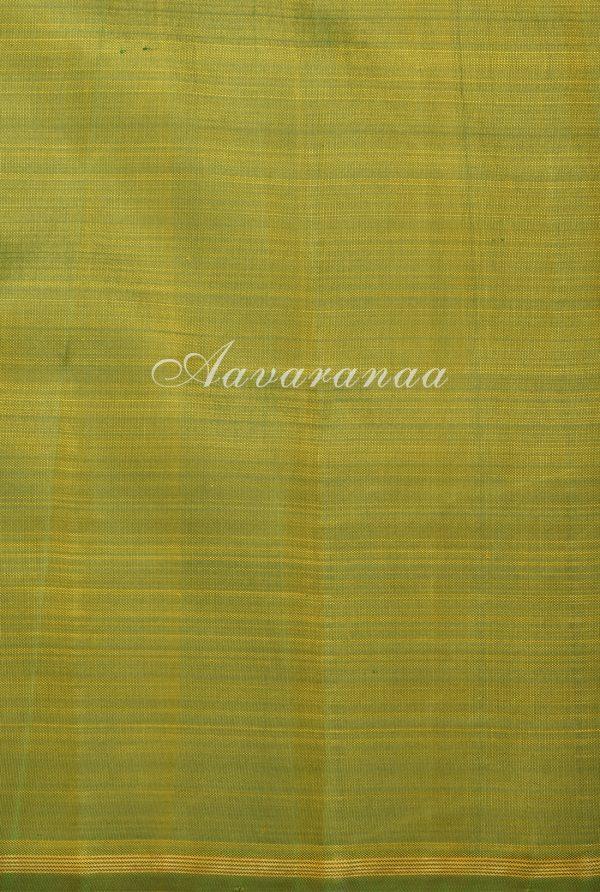 Mustard peach half half block printed kanchi silk saree-17581