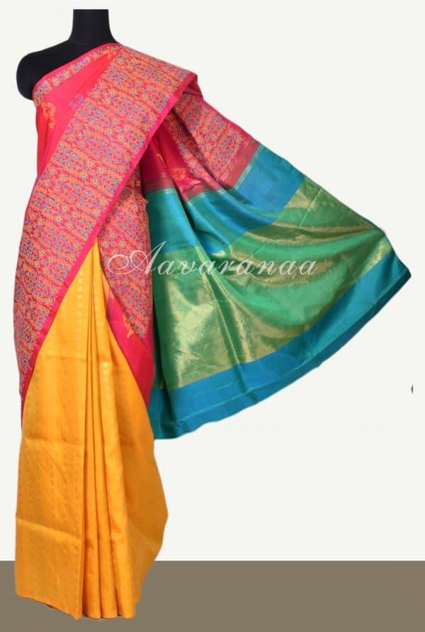 pink multicolour kancheepuram silk saree with block print-0