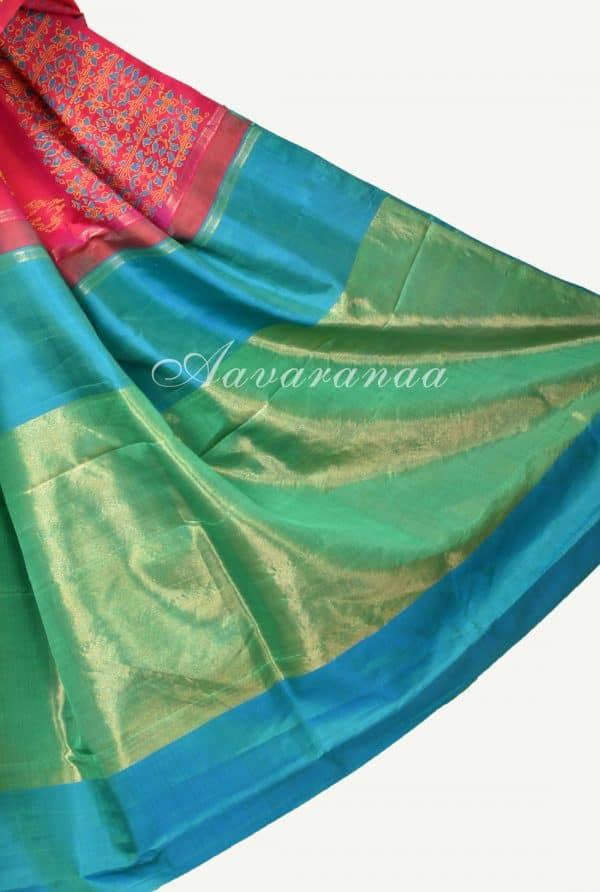 pink multicolour kancheepuram silk saree with block print-17651