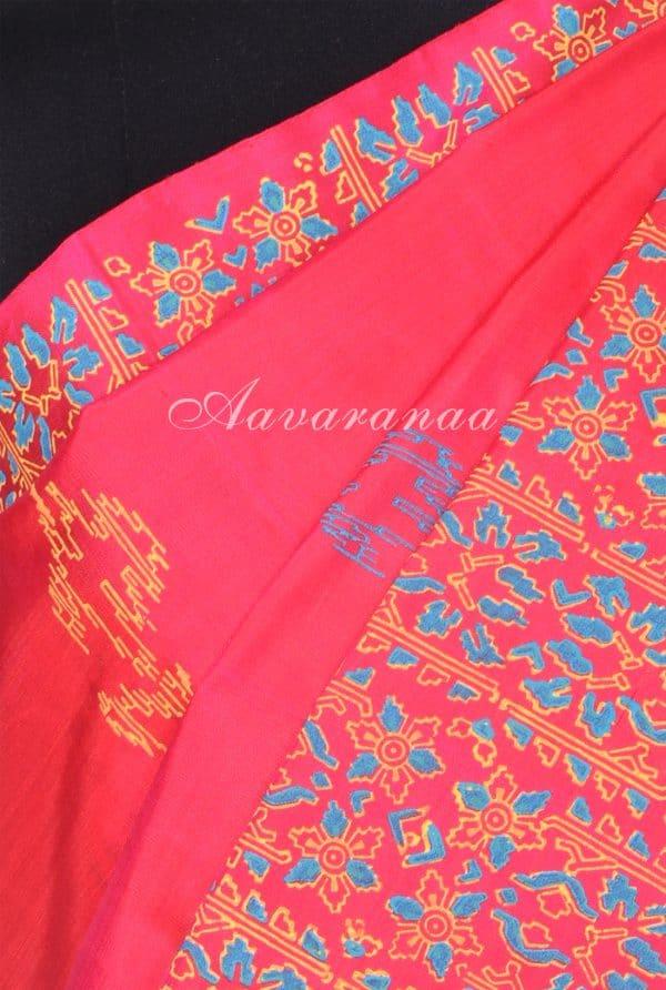 pink multicolour kancheepuram silk saree with block print-17650