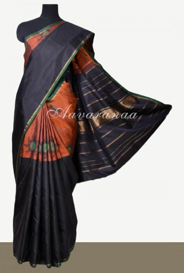 Rust black block printed half half kanchi silk saree-0