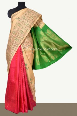 Multicolour block print partly pallu kancheepuram silk saree/uopload printed saree-0
