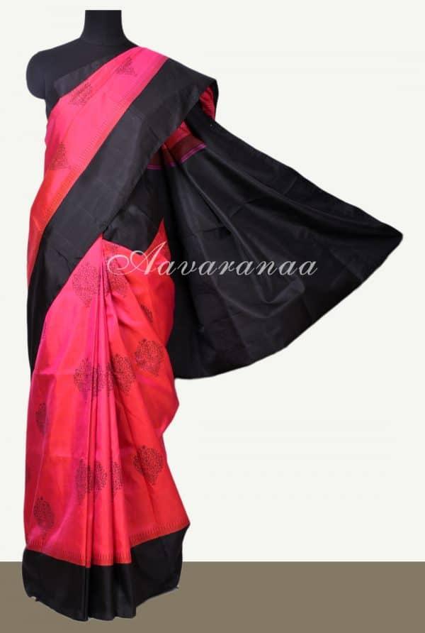 Pink black border block printed kanchi silk saree-0