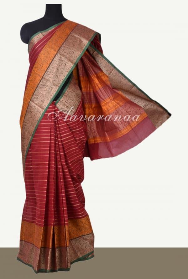 Maroon horizontal stripes kanchi cotton saree-0