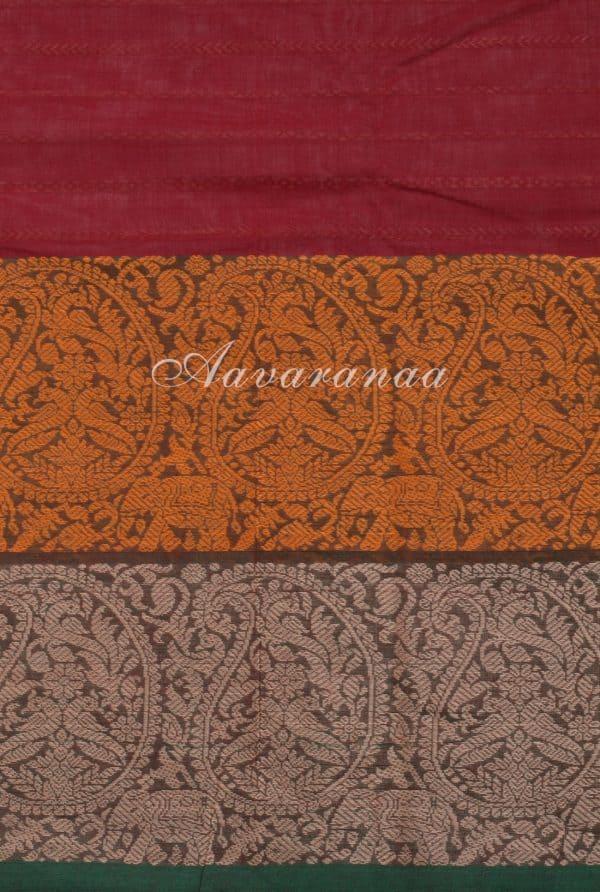 Maroon horizontal stripes kanchi cotton saree-17783
