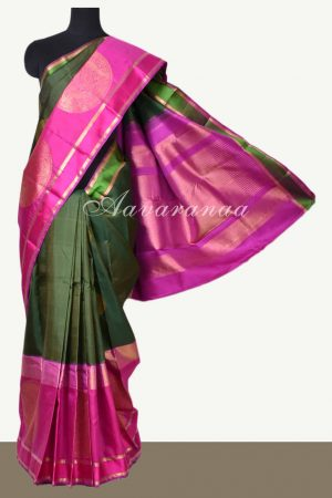 Olive green kanchi silk saree with pink border-0