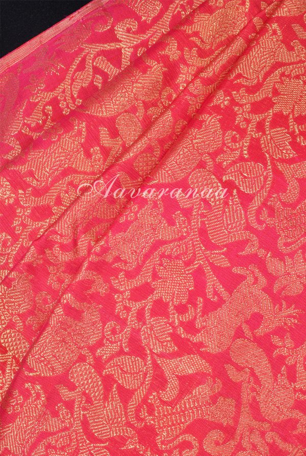 Pinkish red and blue tree of life kanchi silk saree-17406