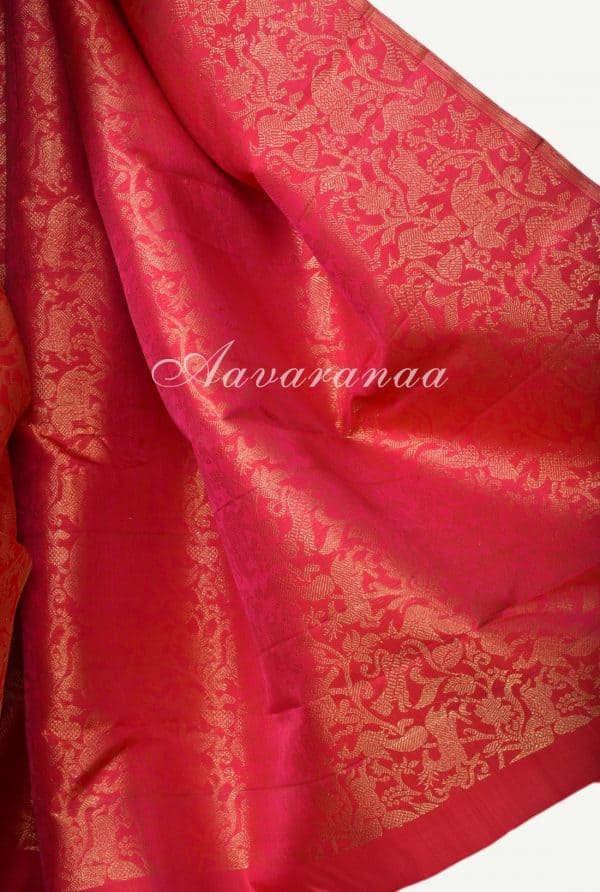 Pinkish red and blue tree of life kanchi silk saree-17405