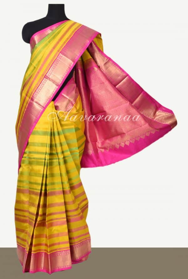 Yellow green kancheepuram silk saree with thread lines-0