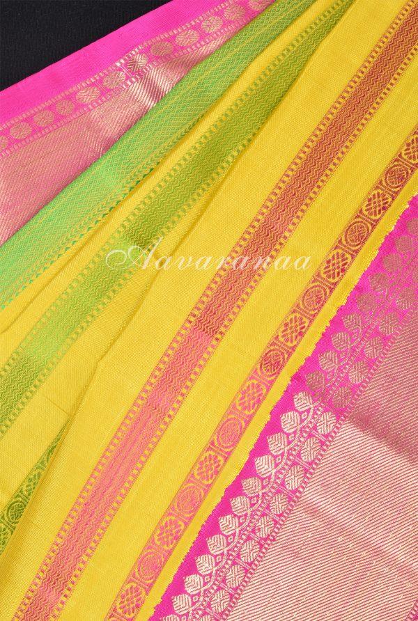 Yellow green kancheepuram silk saree with thread lines-17918