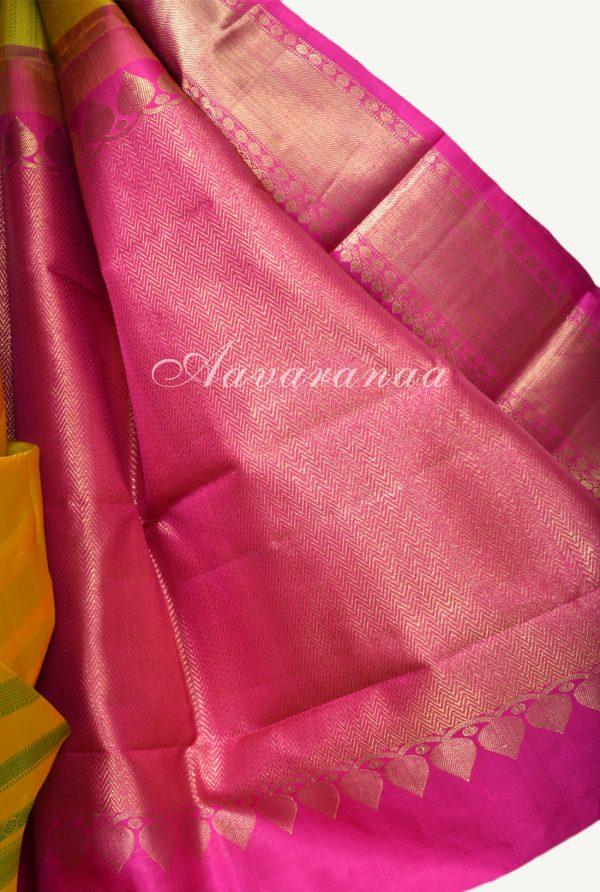 Yellow green kancheepuram silk saree with thread lines-17920