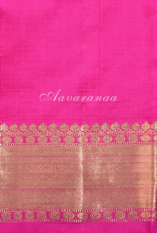 Yellow green kancheepuram silk saree with thread lines-17917