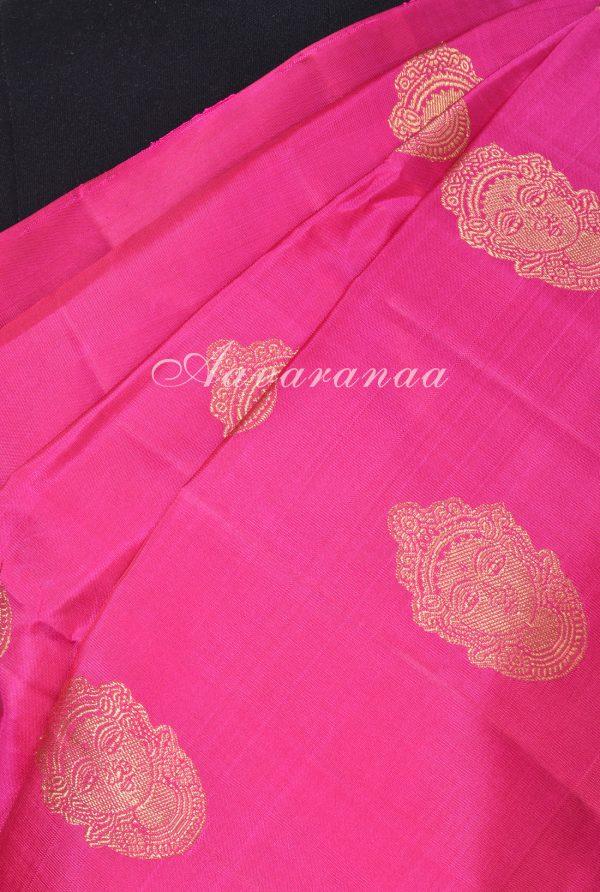 Pink devi face kanchi silk saree with orange pallu -17927