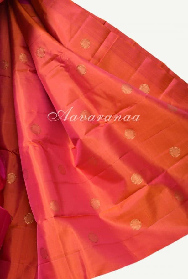 Pink devi face kanchi silk saree with orange pallu -17925
