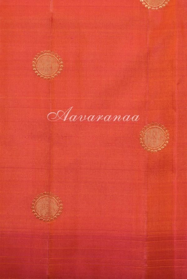 Pink devi face kanchi silk saree with orange pallu -17926