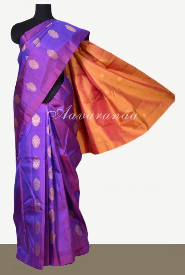 Magenta devi face kanchi silk saree with orange pallu -0