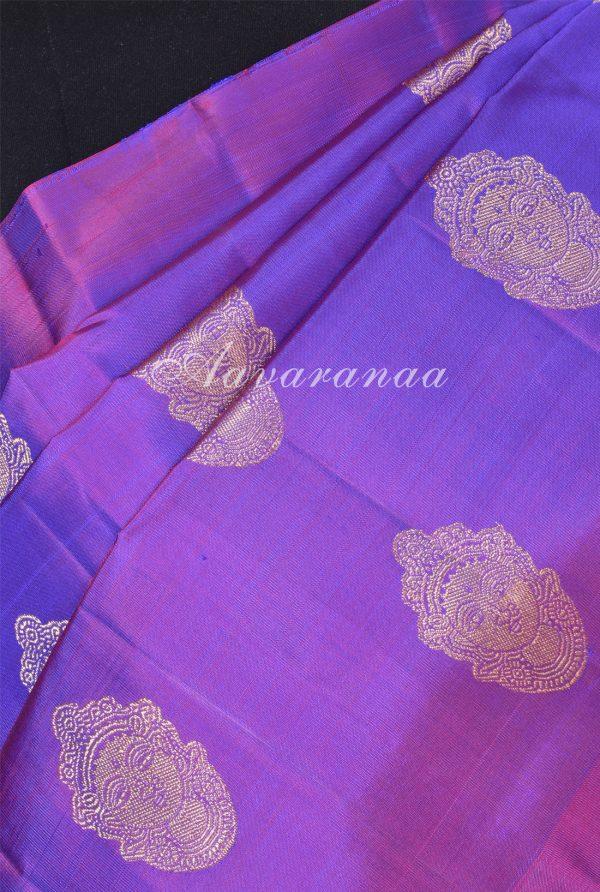 Magenta devi face kanchi silk saree with orange pallu -17932