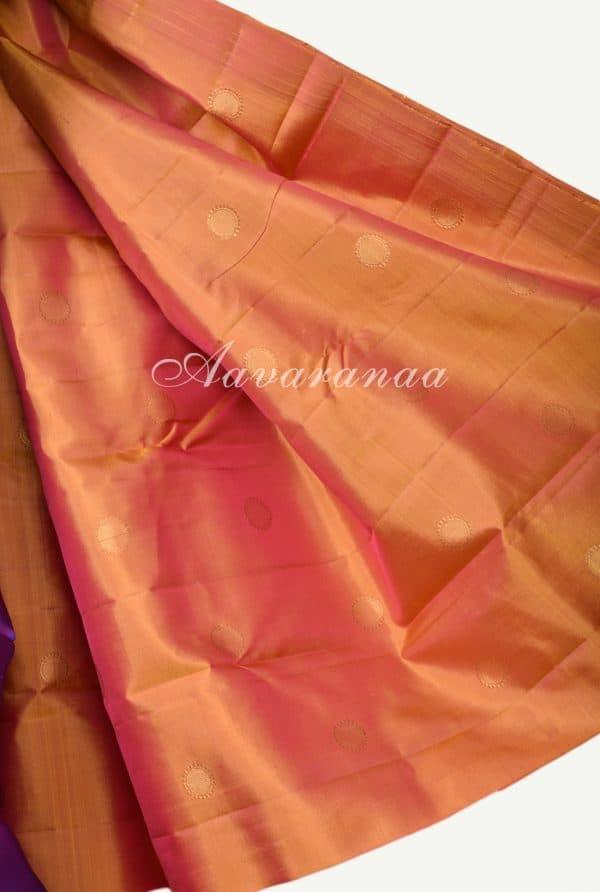 Magenta devi face kanchi silk saree with orange pallu -17930