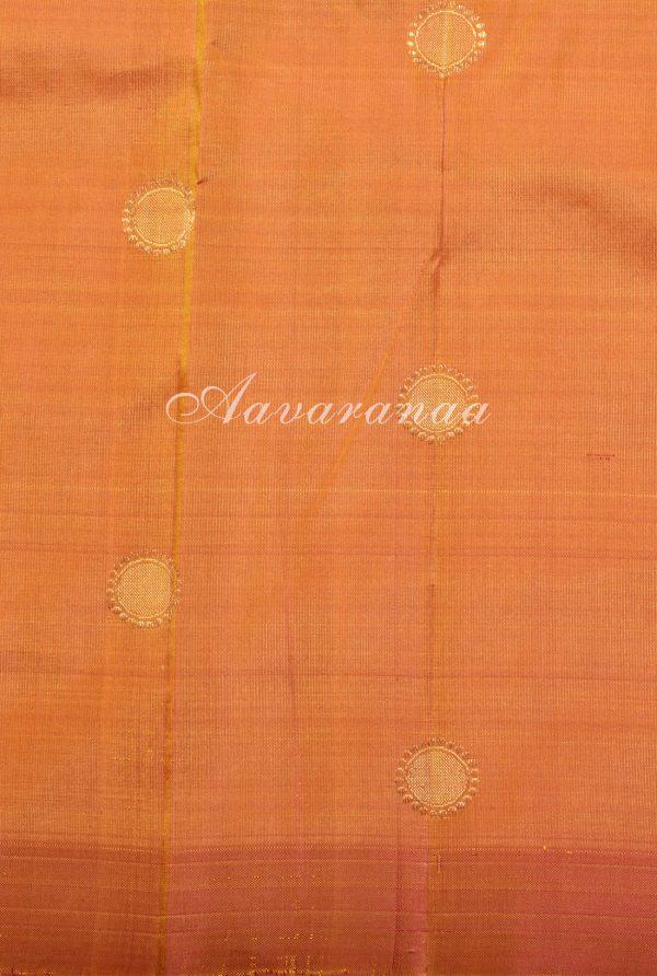 Magenta devi face kanchi silk saree with orange pallu -17931
