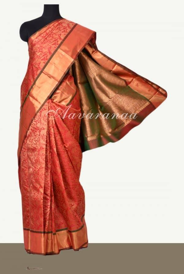 Red tree of life brocade kanchi silk saree -0