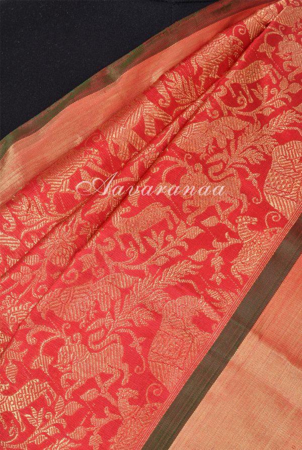 Red tree of life brocade kanchi silk saree -17933