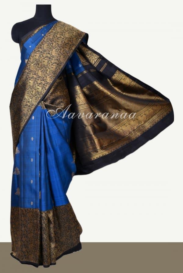 Midnight blue black vanasingaram kanchi silk saree -0