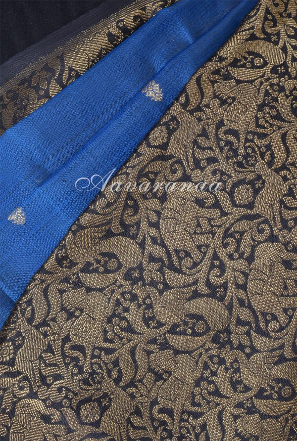 Midnight blue black vanasingaram kanchi silk saree -17944