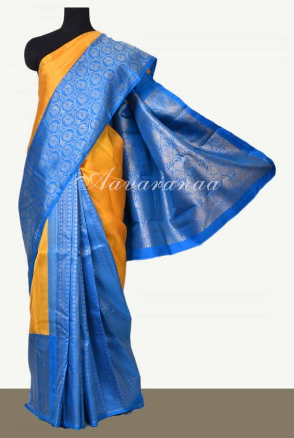 Yellow turquoise blue long border partly kanchi silk saree-0