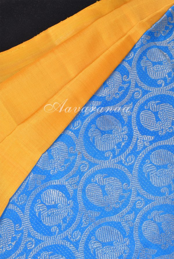 Yellow turquoise blue long border partly kanchi silk saree-17945