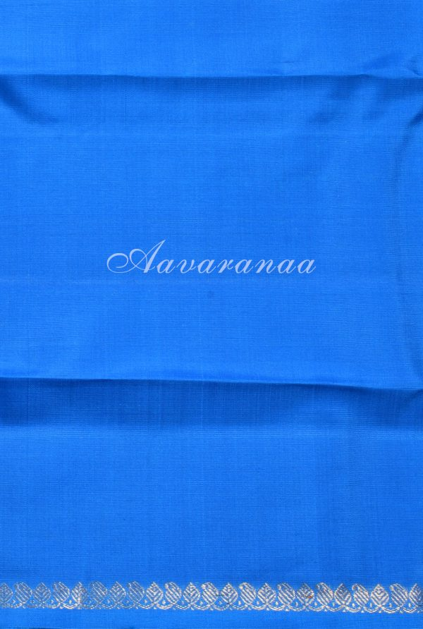 Yellow turquoise blue long border partly kanchi silk saree-17948