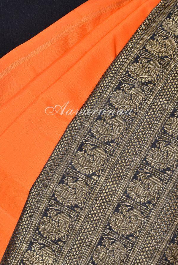 Orange black korvai long border kanchi silk saree-17967
