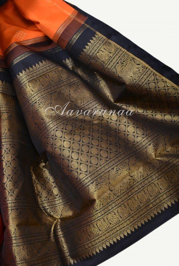 Orange black korvai long border kanchi silk saree-17966