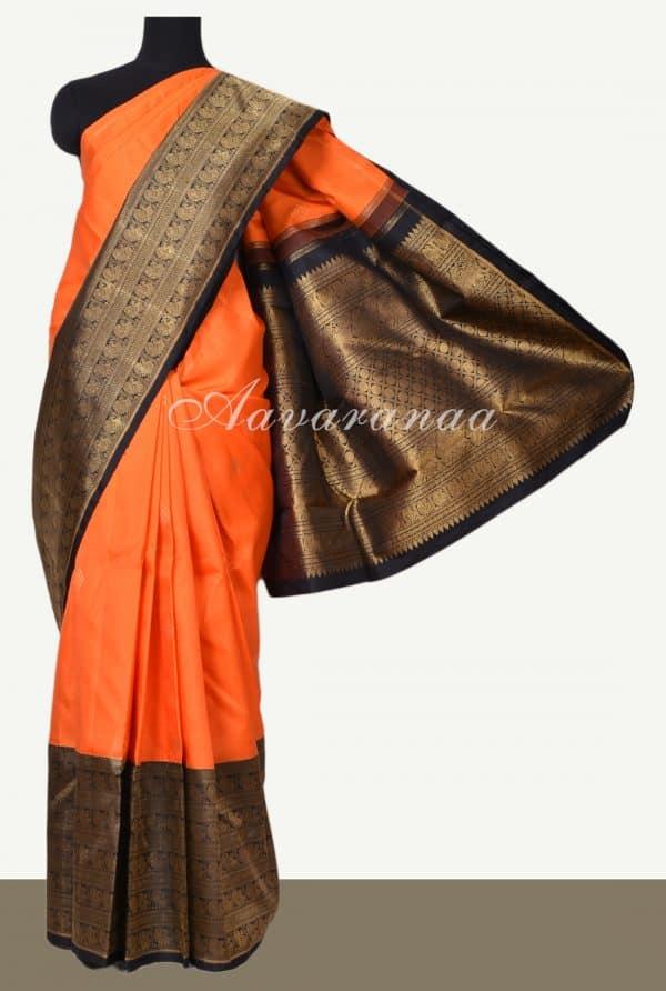Orange black korvai long border kanchi silk saree-0
