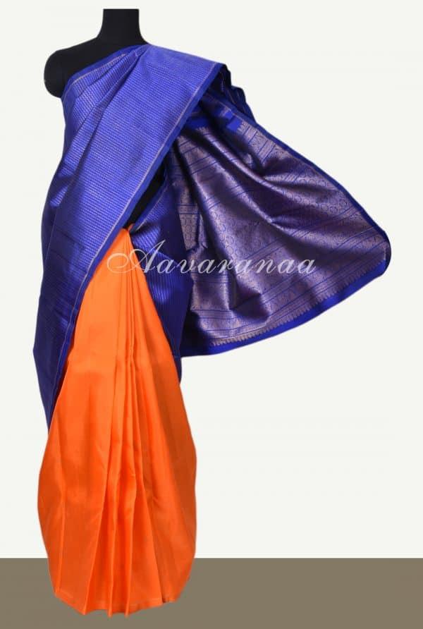 Royal blue orange half half kanchi silk saree -0